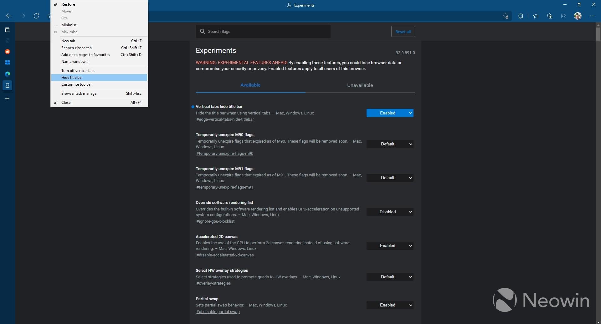 Страница флажков Edge с возможностью скрытия строки заголовка при использовании вертикальных вкладок в Microsoft Edge