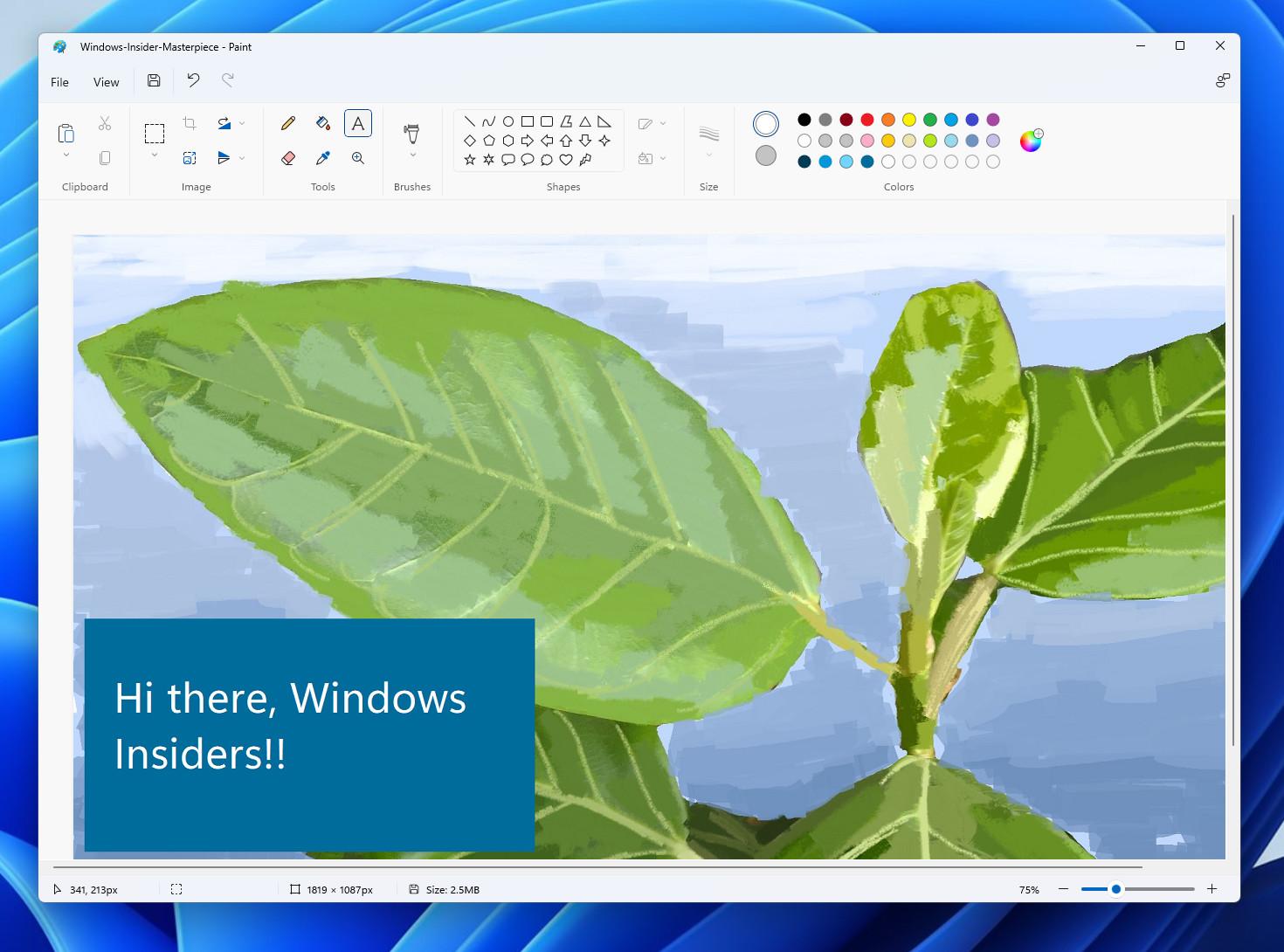 Новый Paint в Windows 11 Dev