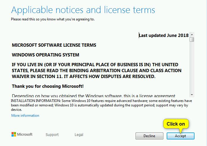 Нажмите «Принять» для Windows 10 EULA