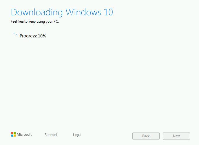 Программа установки Windows 10 начнет загружать, проверять и создавать носители