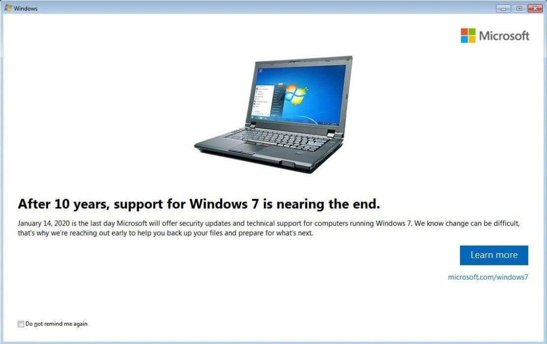 Уведомление об окончании поддержки Windows 7