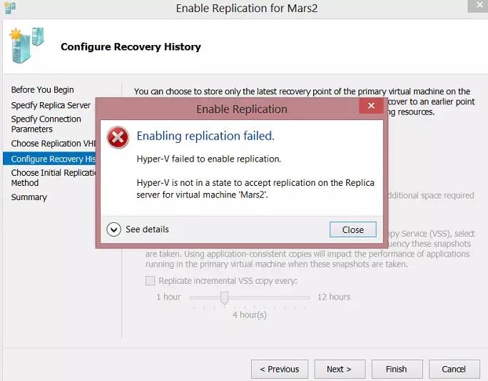 hyper-v replication errors