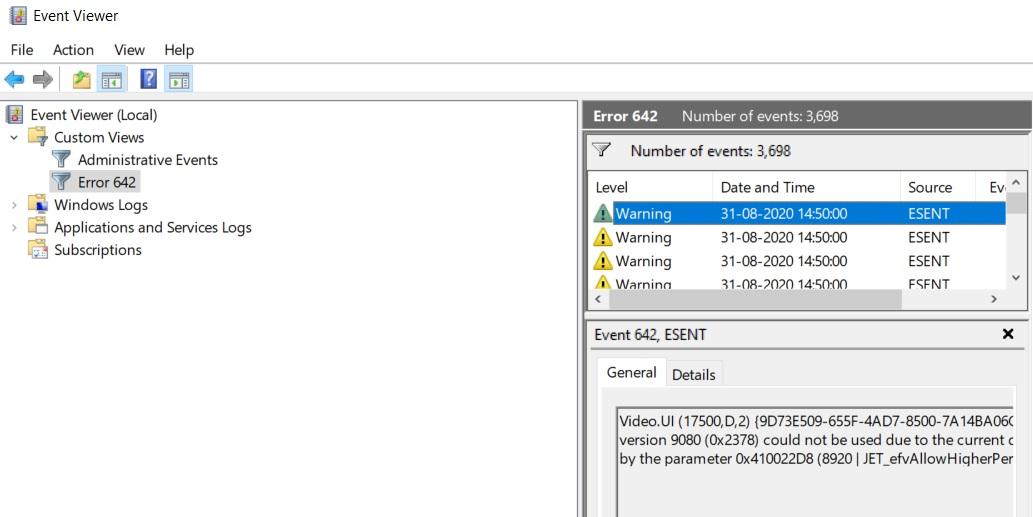 ESENT 642 в Windows 10