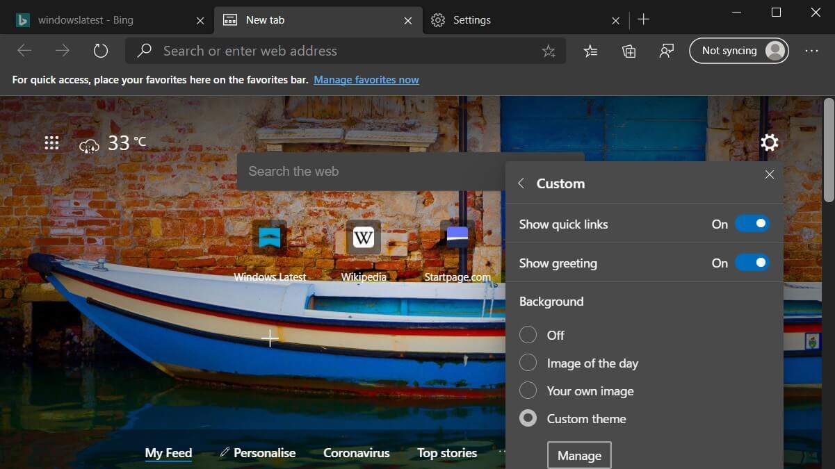 Браузер Microsoft Edge добавили скришоты и поддержку тем