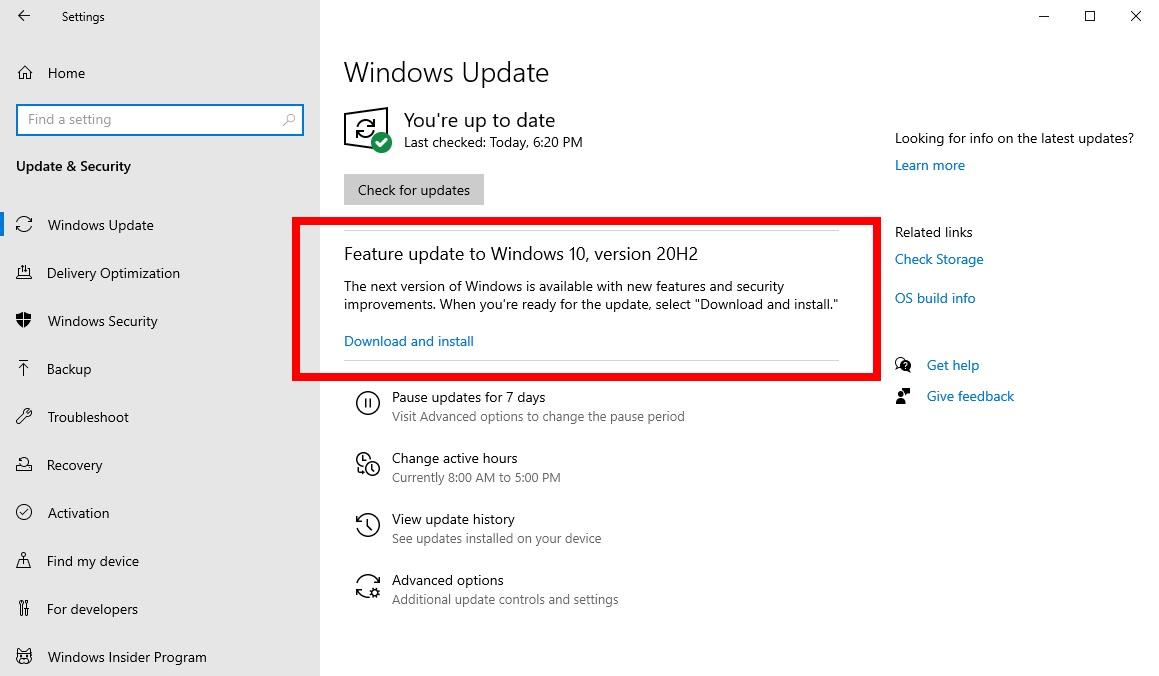 Обновление Windows 10 October 2020 Update