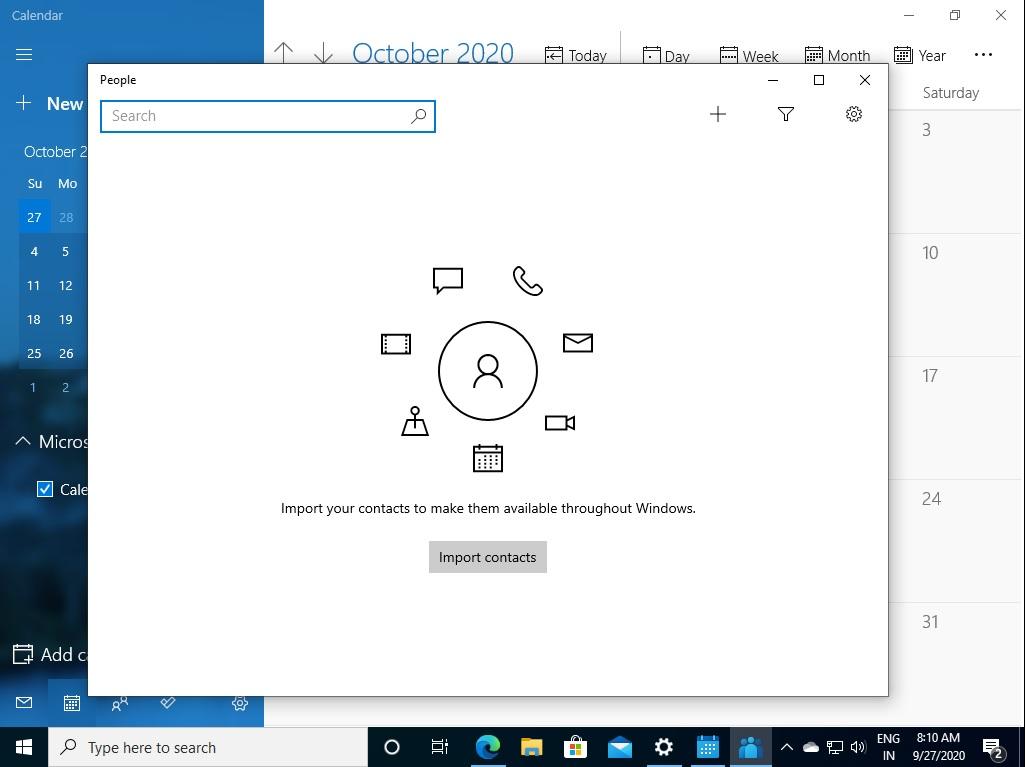 Приложение Люди и календарь Windows 10