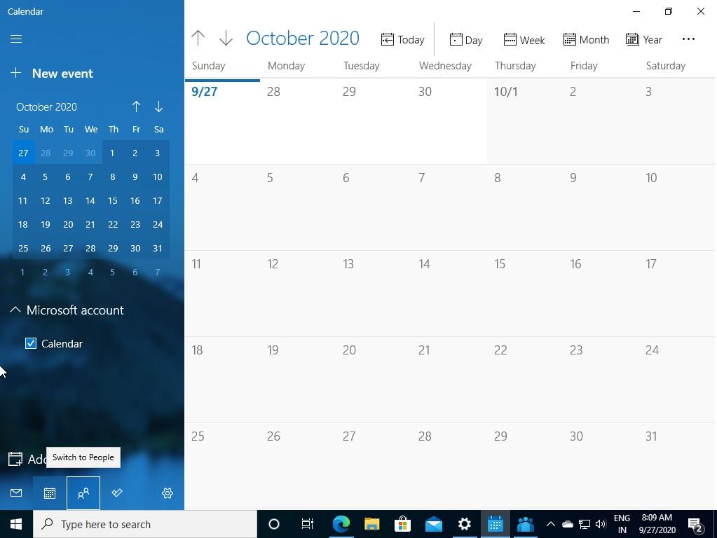 Приложение календарь Windows 10