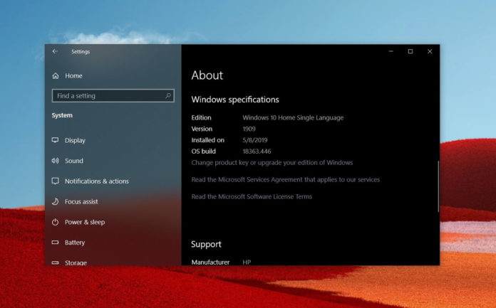 Windows 10 Build 18363.1016