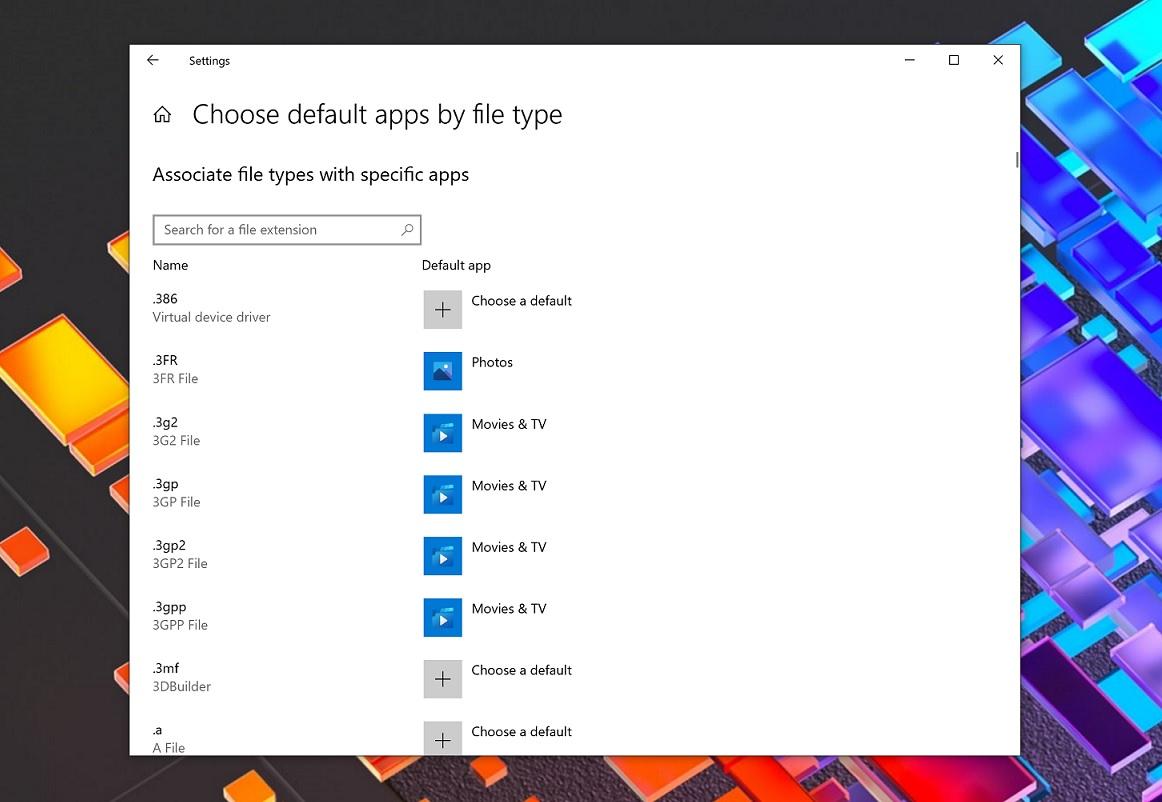 файлы по умолчанию в Windows 10