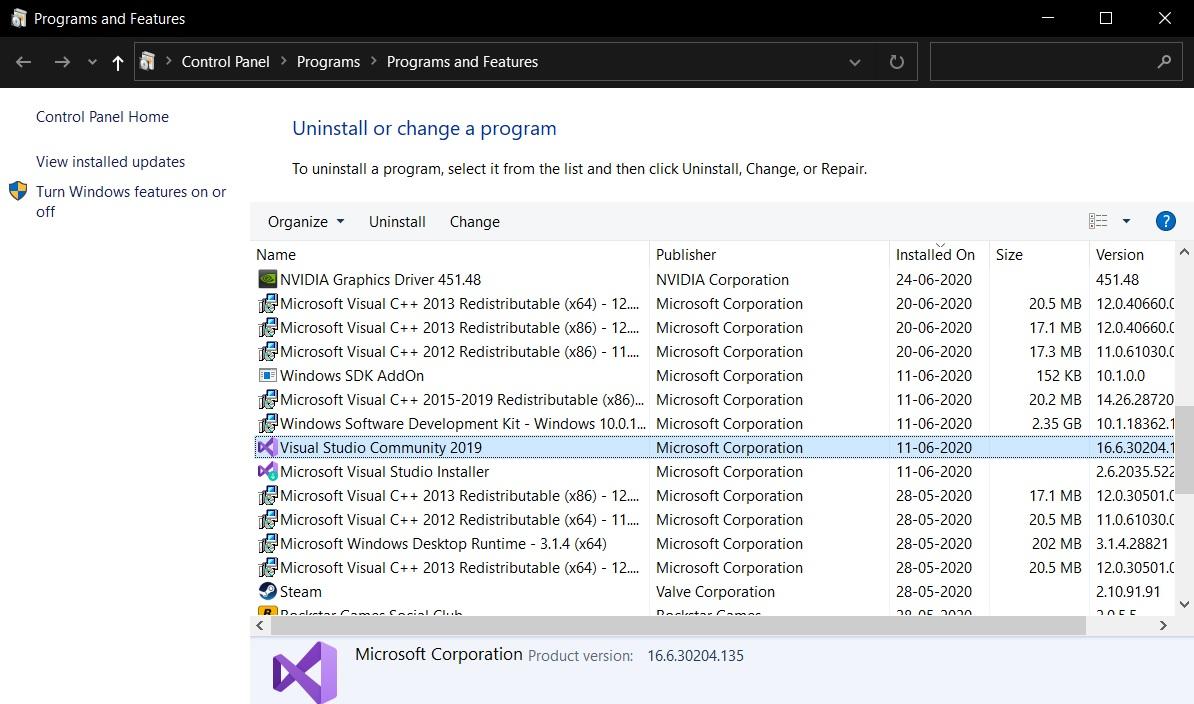удаление программ windows 10
