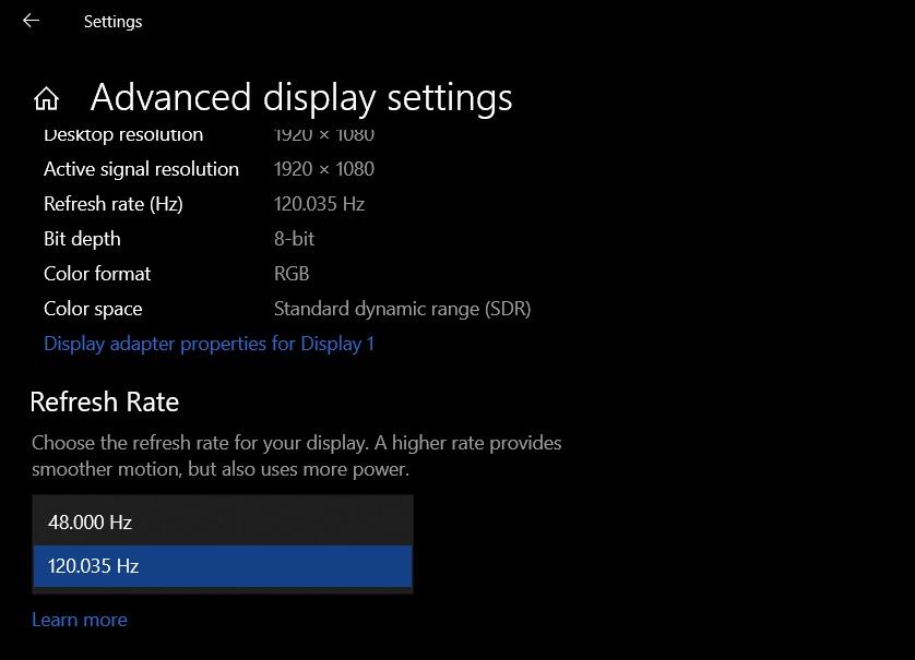 Частота обновления дисплея в Windows 10