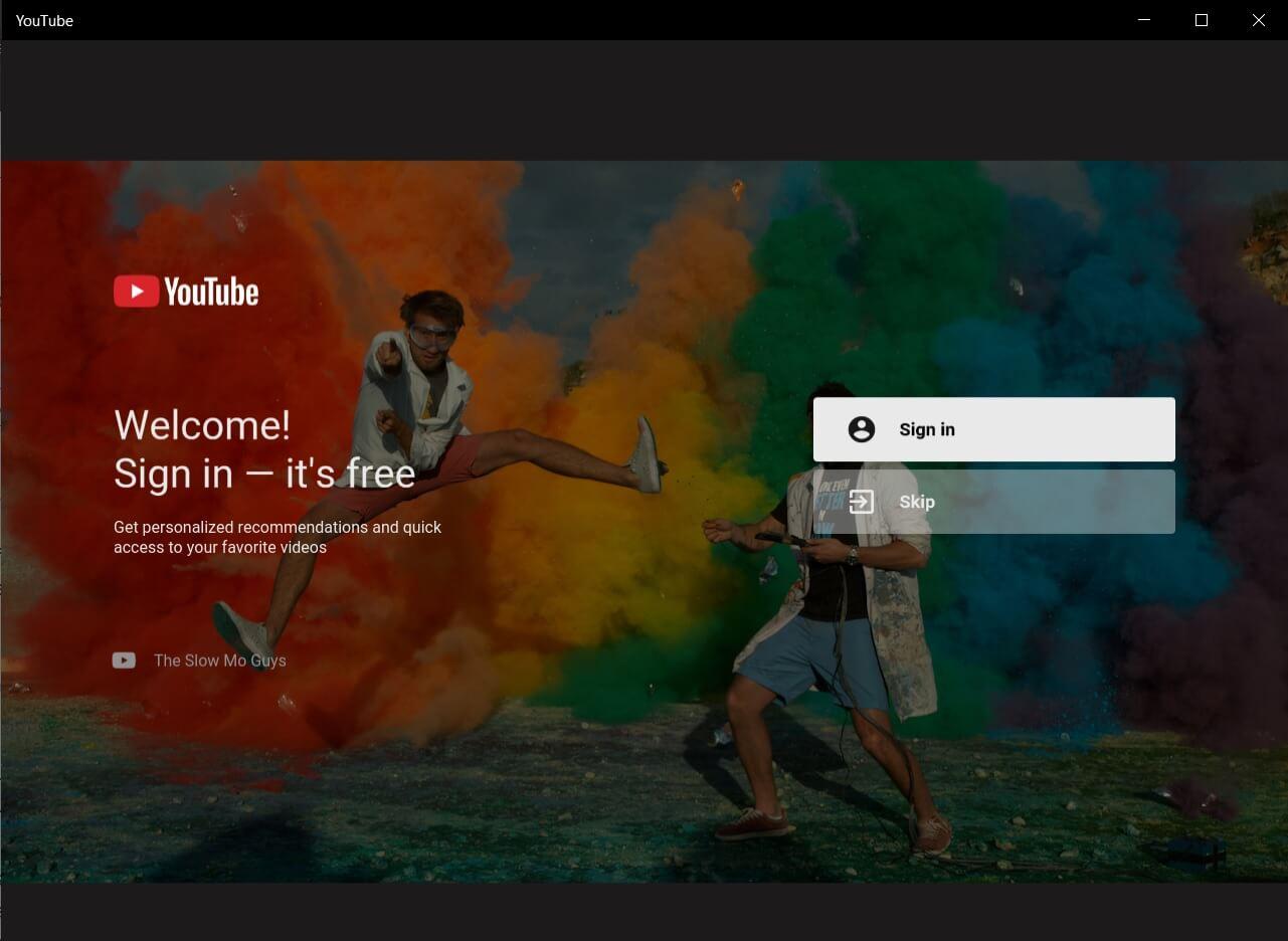 Приложение YouTube для Windows 10