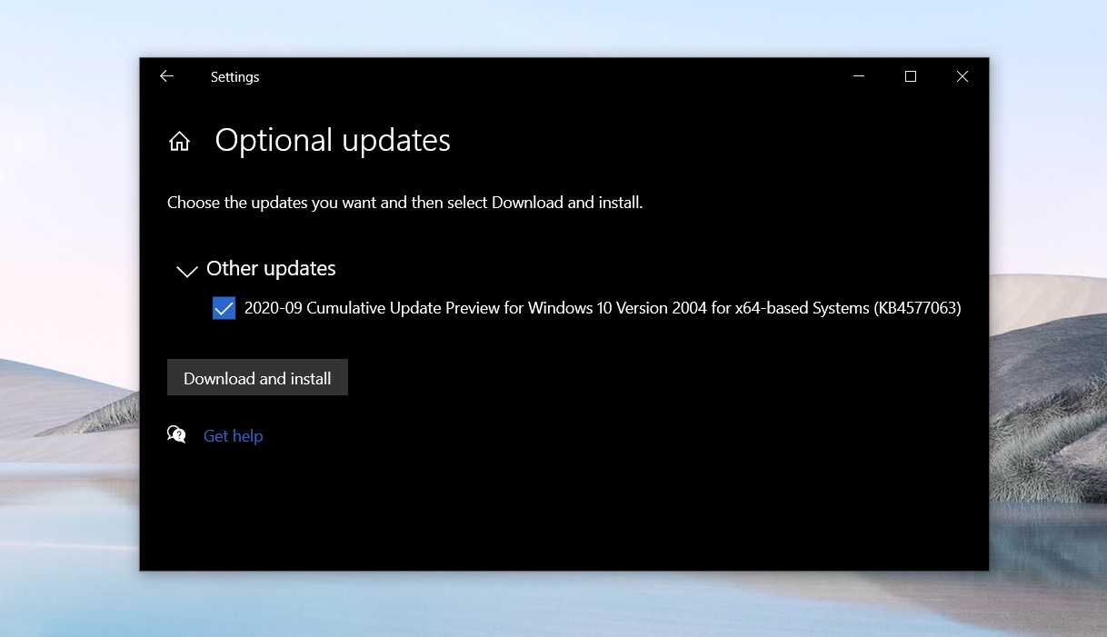 Windows 10 KB4577063 Build 19041.546