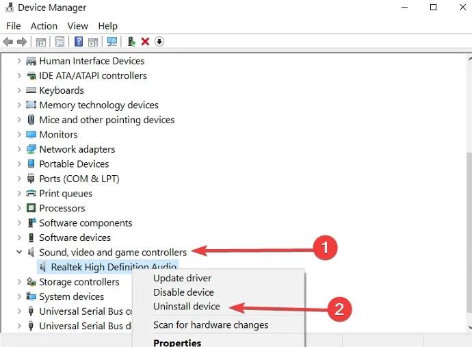 как удалить аудио драйвер в windows 10
