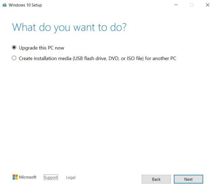 как установить Windows 10 версии 20H2 с помощью Media Creation Tool