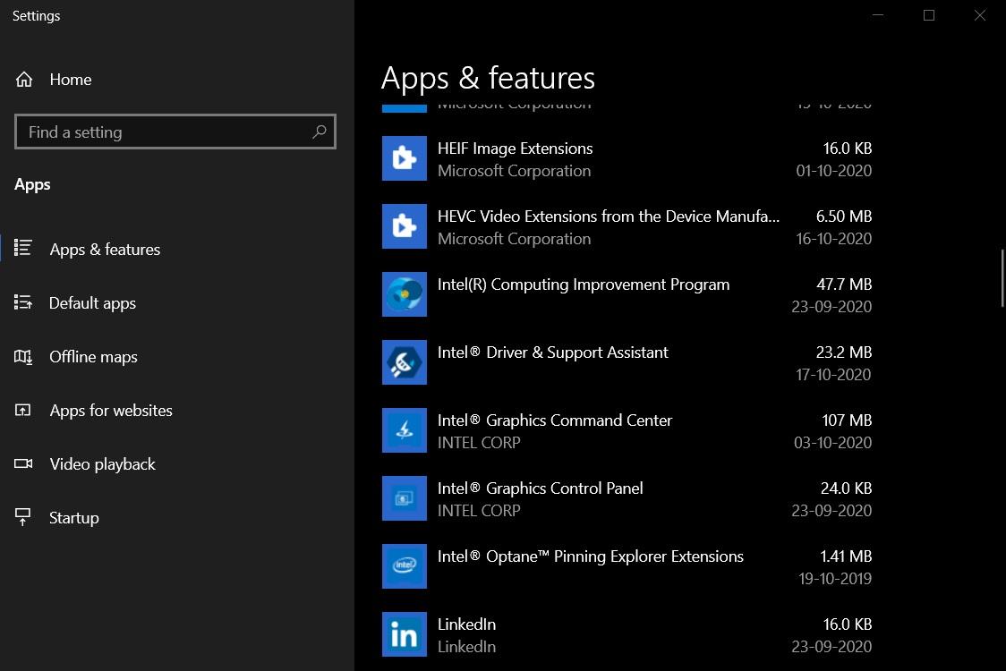 Приложения и функции в Параметрах Windows 10