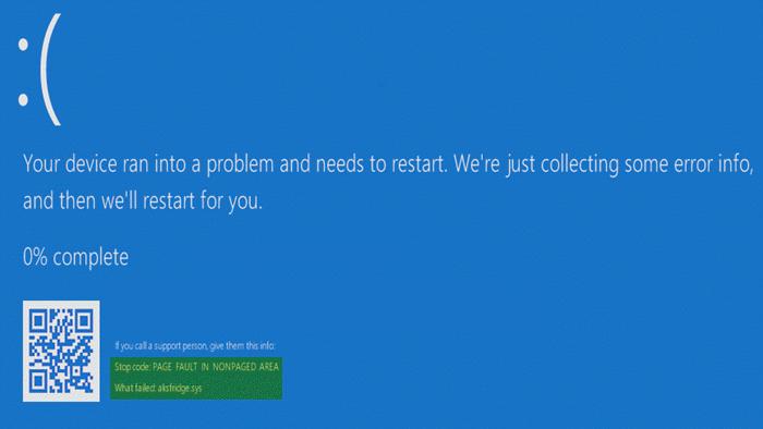 Синий экран aksfridge.sys после обновления Windows 10