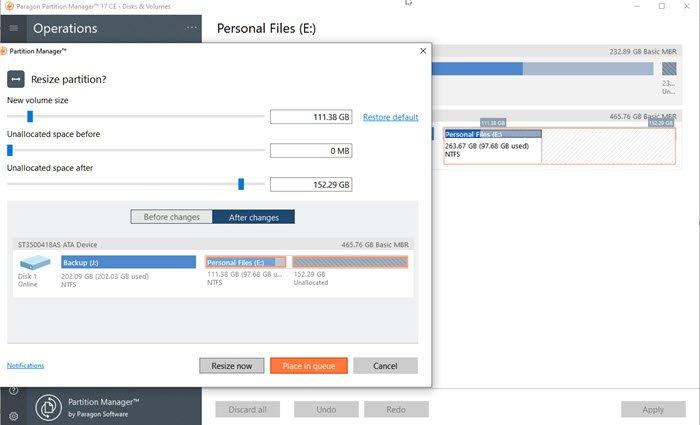 изменения размера диска в Partition Manager