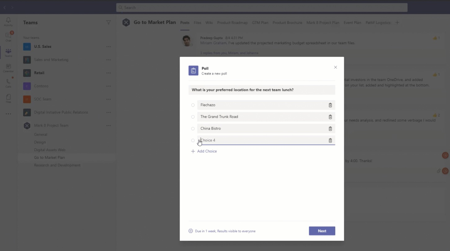 Microsoft Teams опросы
