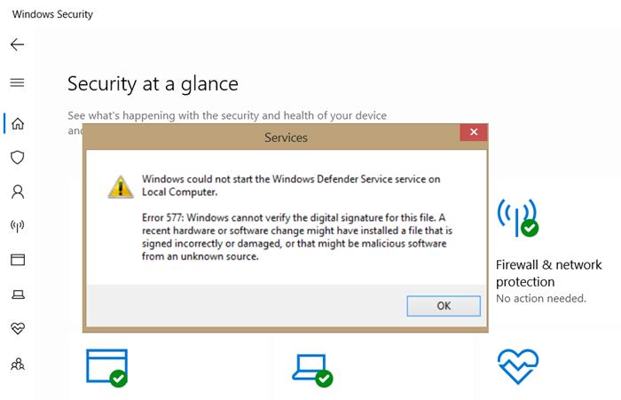 Ошибка 577 Защитника Windows