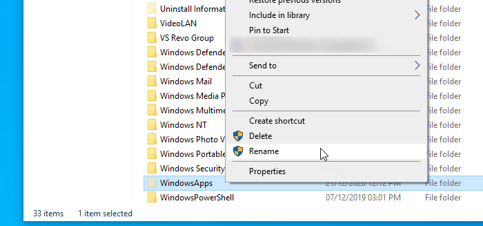 как Переименовать папку WindowsApps