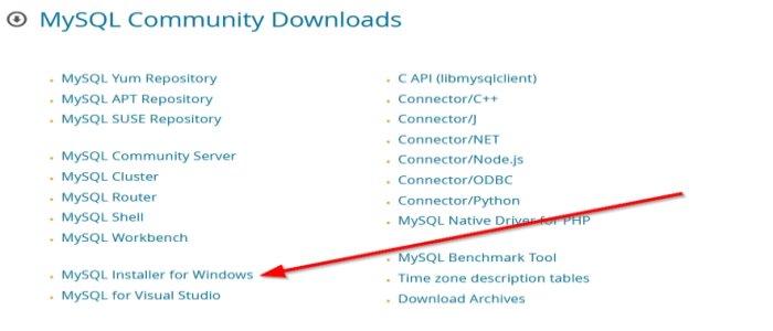 MySQL для Windows 10