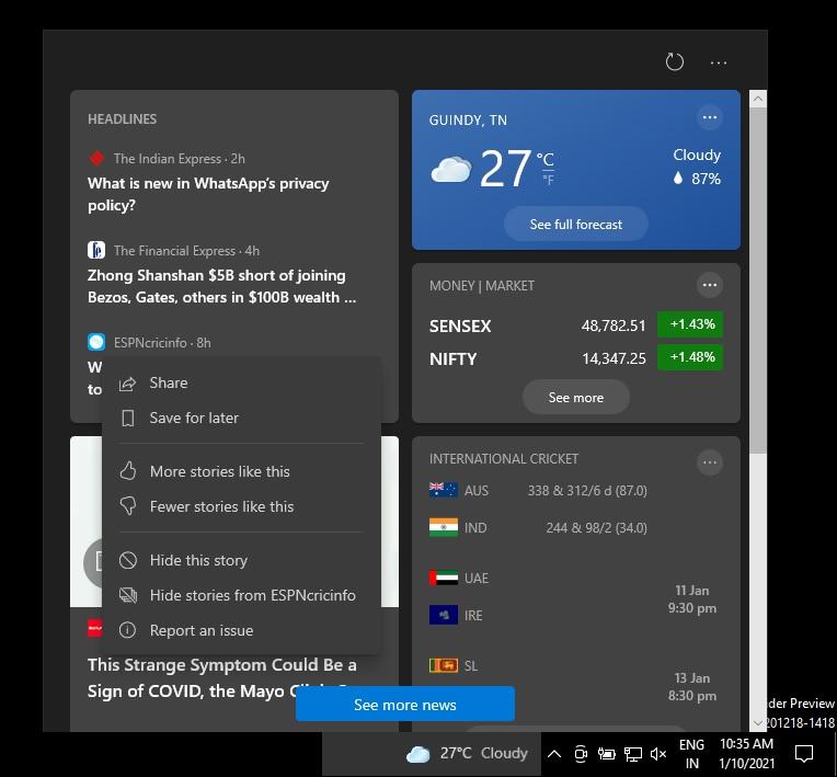 Новости и интересы на панели задач Windows 10