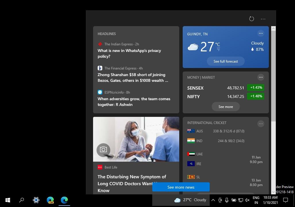 Новости на панели задач в Windows 10