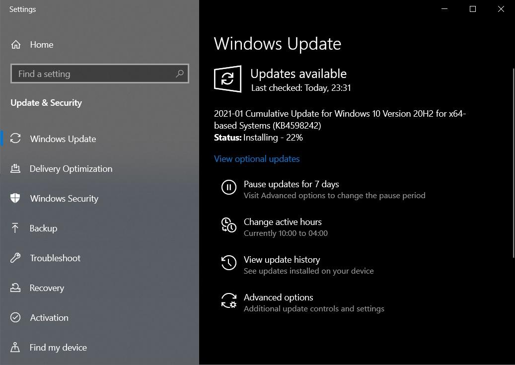 Windows 10 KB4598242 Скачать