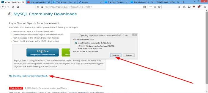 mysql windows 10 x64