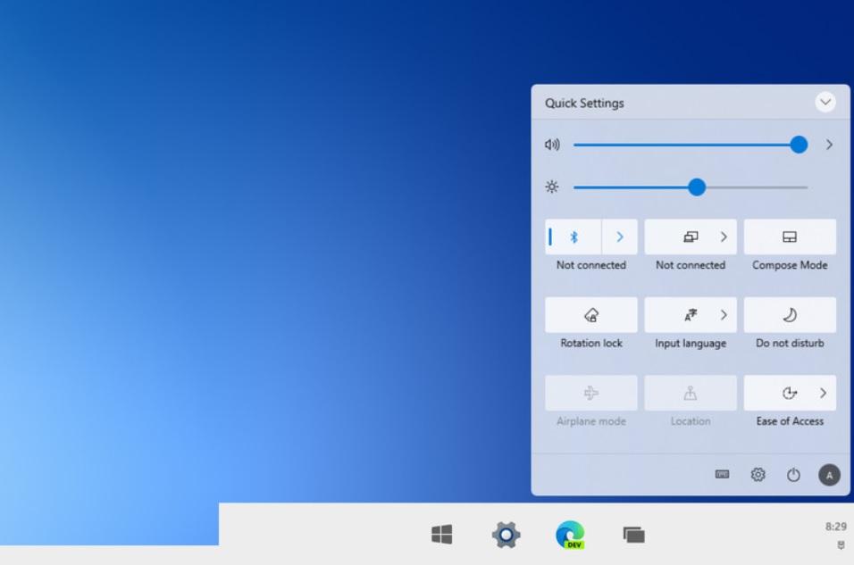 Первый взгляд на новое обновление дизайна Центра поддержки Windows 10