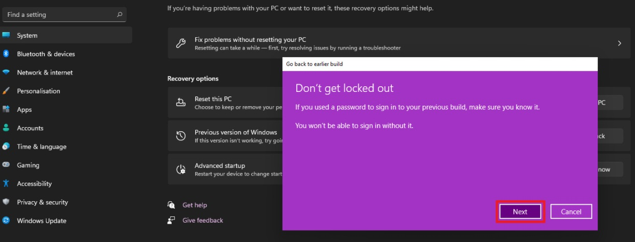 Как откатить Windows 11 и вернуться к Windows 10
