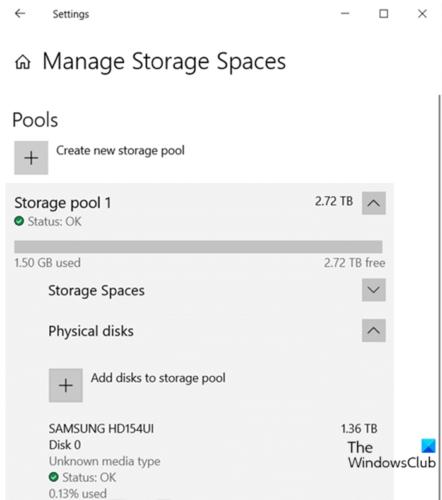 Добавление дисков в пул хранения для дисковых пространств через приложение настроек
