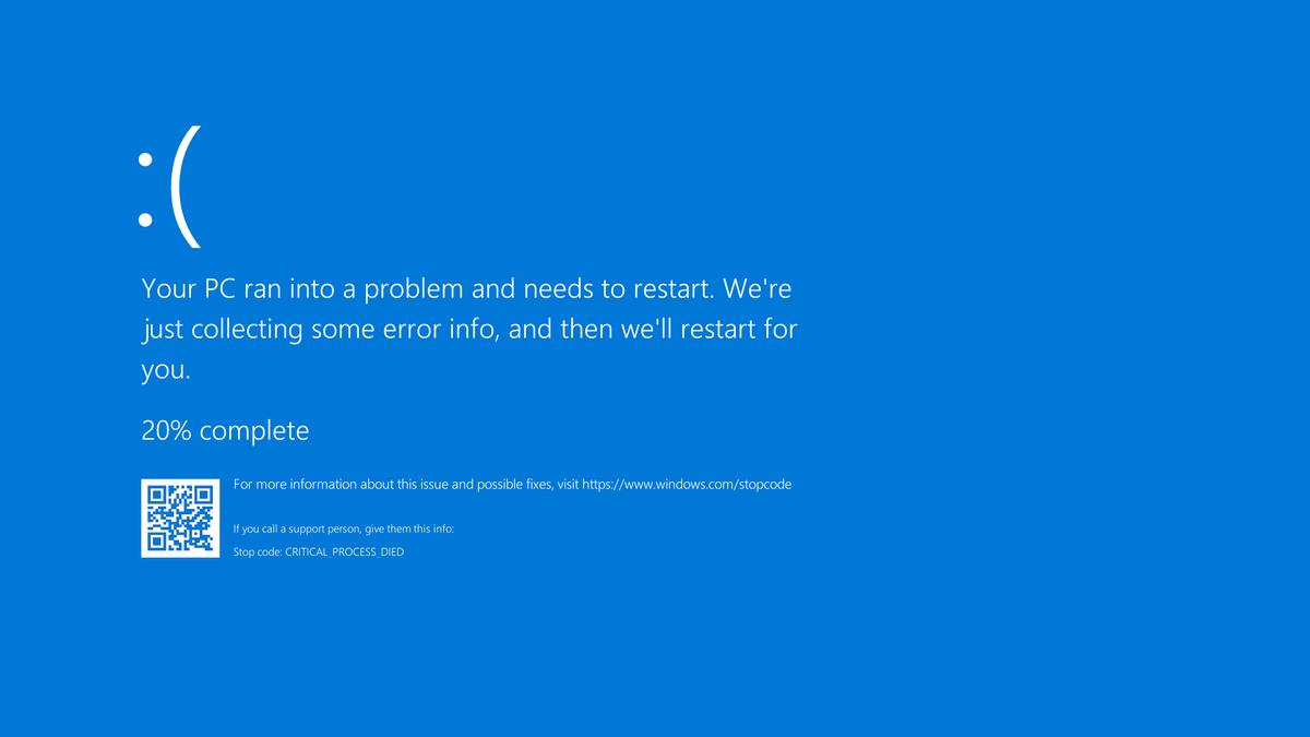 Скриншот BSOD в Windows 10