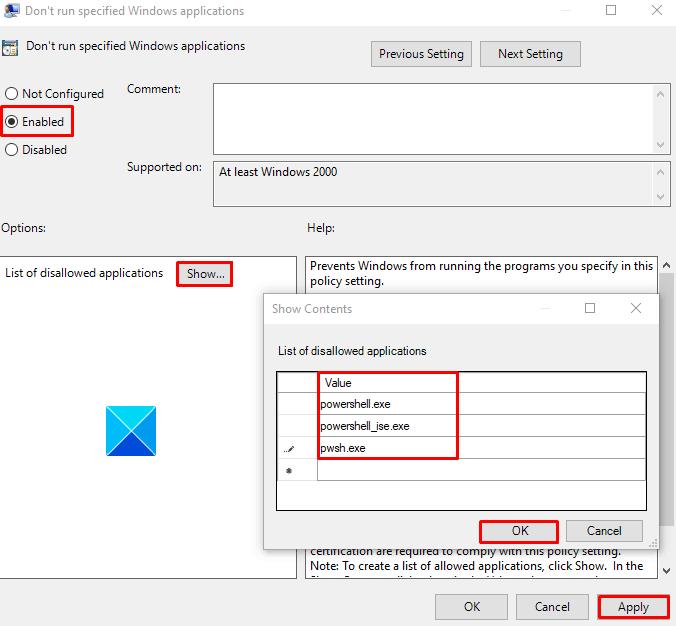 Отключить PowerShell в Windows 10