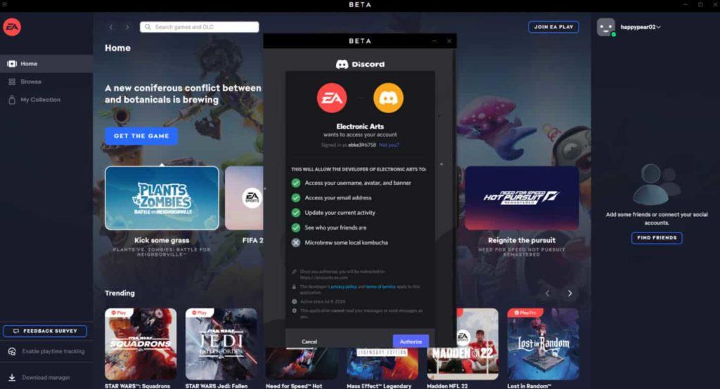 Приложение EA теперь можно связать с Discord