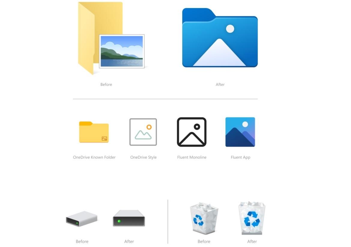 Новые значки проводника Windows 10