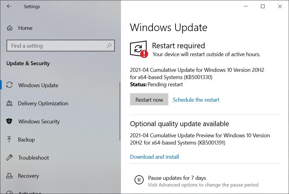Windows 10 KB5001391 (20H2)