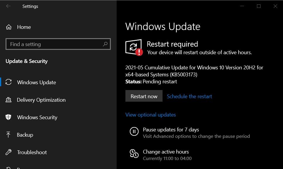 Обновление Windows 10 KB5003173 Build 19042.985
