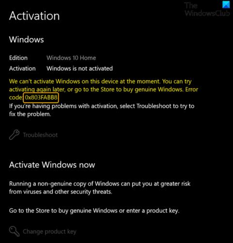 Исправить код ошибки активации 0x803FABB8 в Windows 11/10