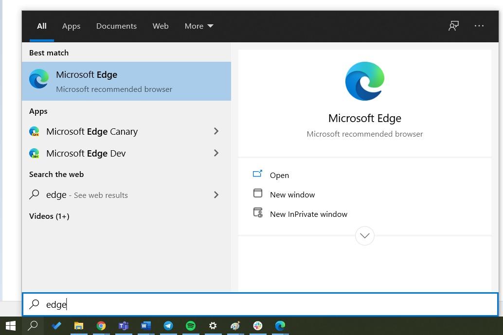 Microsoft Edge удален