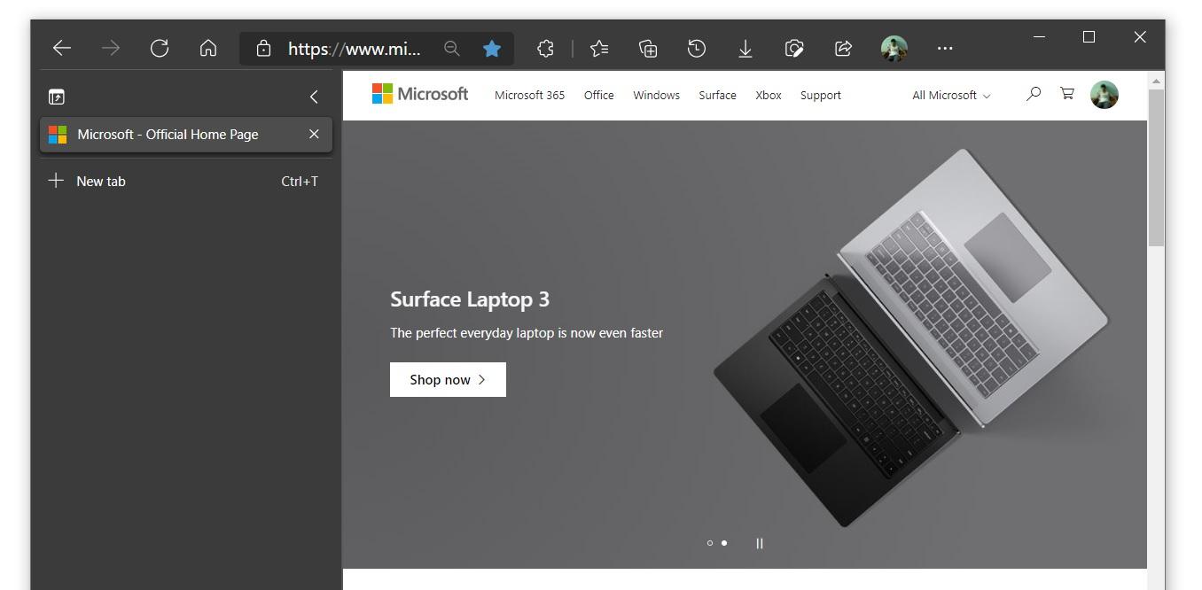 Вертикальные вкладки Microsoft Edge