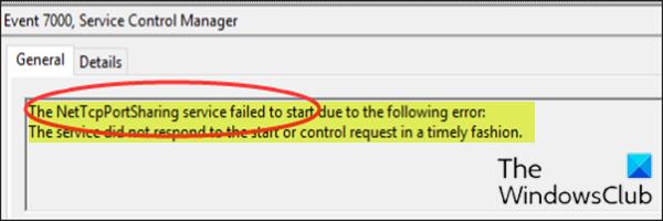 Не удалось запустить службу общего доступа к портам NET.TCP