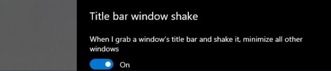 Настройки Aero Shake в Windows 10