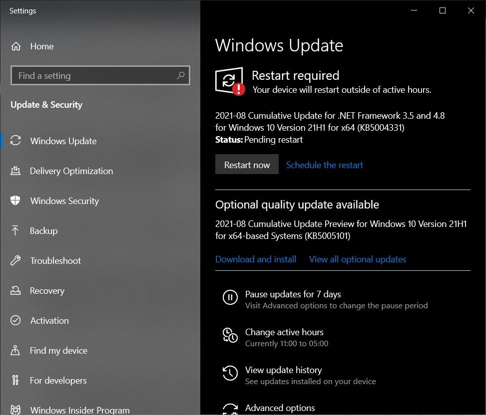 Обновление Windows 10 KB5005101 для 21H1 и более ранних версий