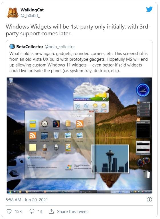 Новые виджеты в Windows 11