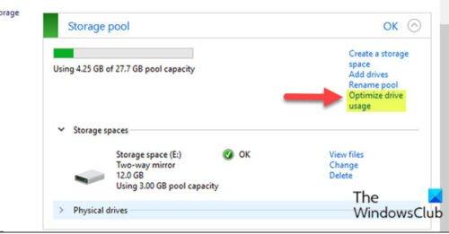 Оптимизация использования диска в пуле хранения для дисковых пространств через панель управления