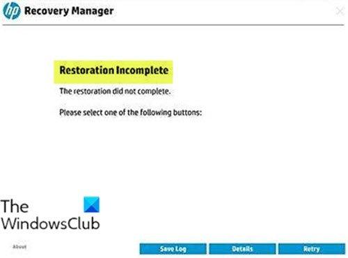 Восстановление не завершено - ошибка HP Recovery Manager