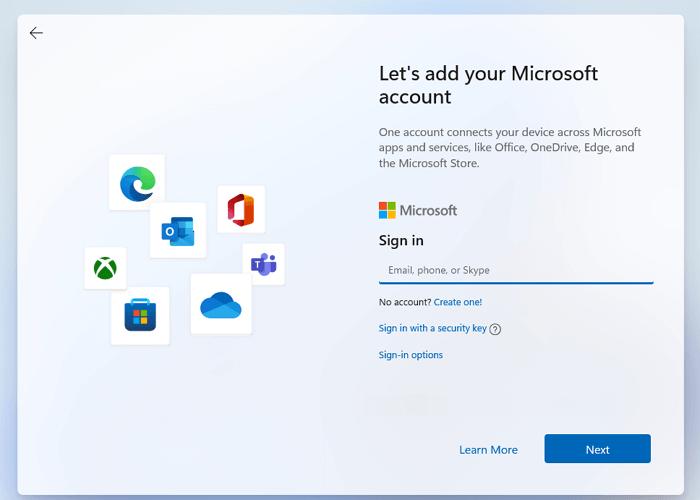 Выберите локальную учетную запись Windows 11