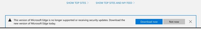 Уведомление об окончании поддержки в Microsoft Edge